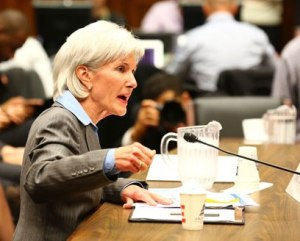 Kathleen Sebelius taking blame at a Congressional hearing