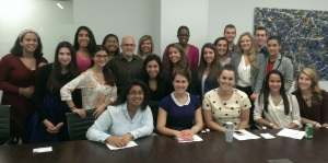 DKC's Bruce Bobbins, surrounded by Hofstra PR students