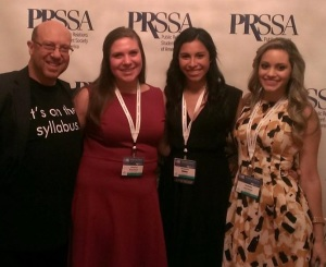 (L. to r.) Yours turly, Jessica Braveman, Nathalie Retana and Isabela Jacobsen at the PRSSA conference