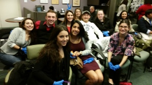 Hofstra students and their protective gloves at the Museum of PR