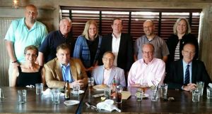 (Standing, l. to r.) Glenn Goldberg, Don Miller, Laurie Bloom, Ken Young, Jeff Morosoff, Wendy O'Neill, (seated, l. to r.) Louise Cassano, Rich Torrenzano, Howard Blankman, Bert Cunningham, and Gary Lewi.