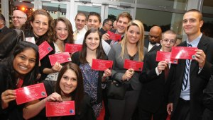 Hofstra students showed off their tickets to see the 2012 debate up close